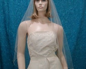 Crystal and Bugle Beaded Edge 1 Tier Fingertip length Wedding Veil