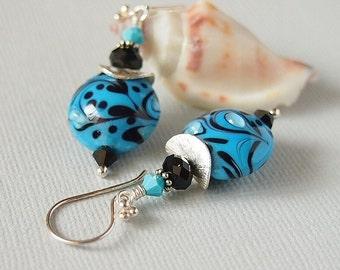 Turquoise Black Beaded Earrings, Lampwork Earrings, Blue Aqua, Sterling Silver, Artisan Lampwork, OOAK - INTERSTELLAR