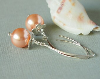Pearl Flower Earrings, Pink Rose Peach Glass Bead, Swarovski, Sterling Silver - FLOWER GIRL