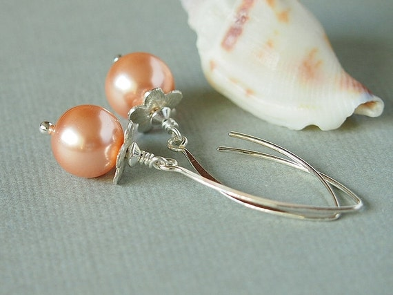 Pearl Flower Earrings, Pink Rose Peach Glass Bead, Swarovski, Sterling Silver - FLOWER GIRL