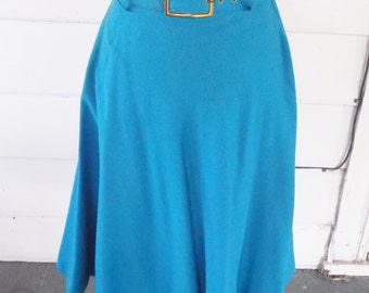 1950s Vintage Blue Wool Skirt With Matching Belt 25 Inch Waist XS