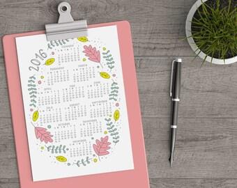 2016 Floral Calendar Printable