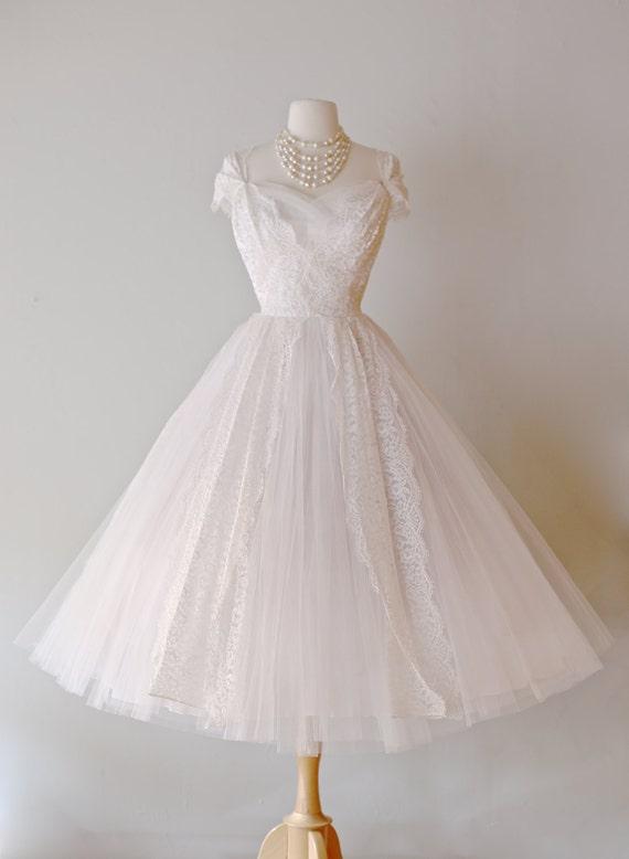 Beautiful 1950s Lace Tea Length Wedding Dress by Lorie Deb ~ Vintage ...