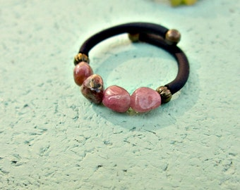 Tourmaline Beaded Adjustable Memory Wire Wrap Ring with Comfort Band: Coast