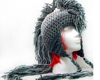 Extreme Long Gray Ombre Tones  Mohawk Hat