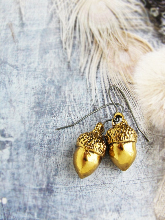 Acorn earrings, Gold acorn earrings, Gold acorn dangle earrings, unexpected miracles, magical acorns