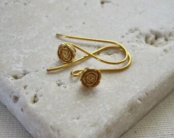 Bali 24K Gold Vermeil Rose Blossom Flower Earwires - 1 Pair