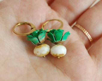 turnip earrings, miniature turnip jewelry, gardening jewelry, root vegetables, realistic turnip earring, glass turnip dangles, white turnips