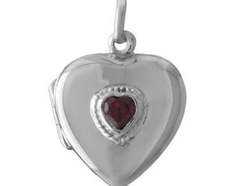 Red Garnet Heart Locket Sterling Silver Pendant on Black Cord