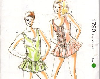 Kwik Sew 1790 1980s Misses Lingerie  Lacy Teddy Pattern Scoop Neck Skirted Womens Vintage Sewing Pattern Size XS S M L Bust 31 - 41 UNCUT