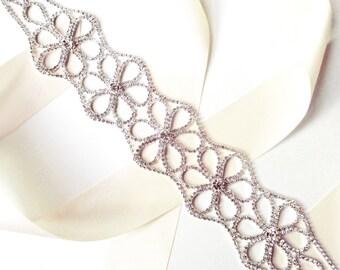 Wide Rhinestone FlowerWedding Dress Sash - Silver Rhinestone Encrusted Bridal Belt Sash - Crystal Flower Extra Wide Wedding Belt - Long