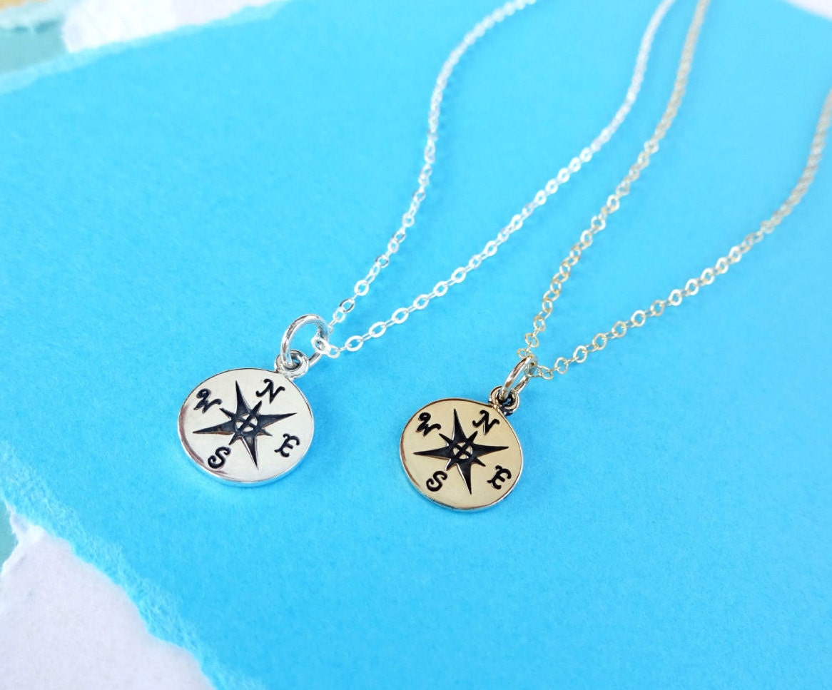 compass necklace friendship necklace compass jewelry