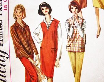 1960s Jumper Pattern Misses size 12 Womens V Neckline Jumper, Blouse, Top Skirt and High Waisted Pants Vintage Sewing Pattern