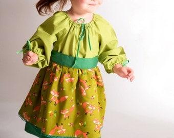 MR FOX girls dress, peasant dress, toddler dress, fall dress, autumn dress, woodland dress, long sleeves, thanksgiving dress, baby girl