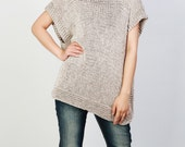 Hand knit Tunic sweater eco cotton woman sweater vest wheat top oatmeal