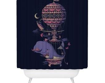 Shower Curtain, Whale, Balloon, Animal, Bathtub, Dark Navy Shower Curtain, Made in USA - Great Decoration Gift for Bathroom