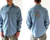 Vintage Chambray Shirt / Nature Boy / 70s Men's Shirt / Embroidered Shirt / 1970s Shirt / Western Shirt / Large L