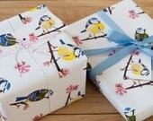 Blue Tit Blossom Wrapping Paper - 100% Recycled