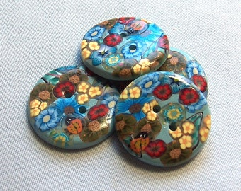 Large Blue Floral Button with Ladybugs  No. 327