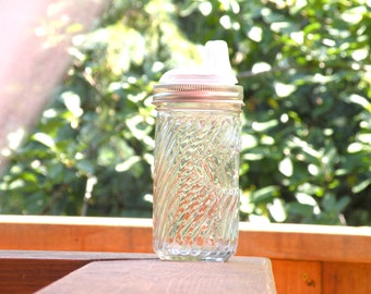 Mason Jar Glass Sippy cup - spiral 12oz