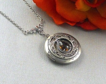 Victorian  Brown Smoky Quartz Locket Antique Silver Locket Rhinestone Vintage Neutral Color Fall  Filigree Locket Necklace