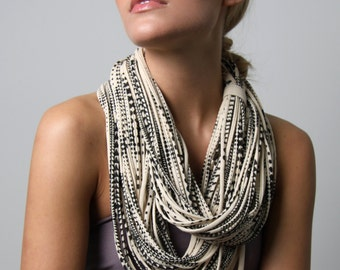 Cream White Scarf, Statement Necklace, Infinity Scarf, Hipster, Festival Wear, Tribal, Trendy, Gift For Her, Birthday Gift, Boho, Gift Ideas