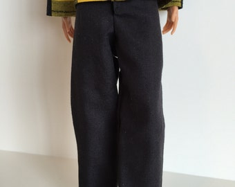 Handmade Barbie and Ken Clothes Kens Black Pants Only
