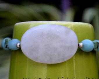 Hand Beaded Bracelet  for Women or Teen Girls made w/Green Opal, Rose Quartz, and Amazonite