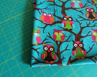 Owls on Turquoise Corduroy Destash - FQ