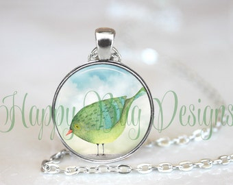 """Watercolor Bird Changeable 1"""" Magnetic Pendant Necklace with Organza Bag"""