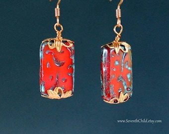 Copper and Red Earrings - Czech Glass Picasso Red Tile With Green Accents - Copper Earrings - Red and Green Picasso Bead Earrings -