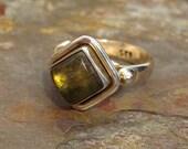 Labradorite Ring ~ Square-cut Labradorite Cabochon in Heavy Sterling Silver - Size 8