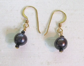 Pearl Earrings: Simple Wire-Wrapped Plum FWP Dangles w/14Kt GF Ear Hooks