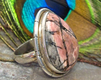 Rhodonite Ring ~ Large Pinkish Gray Statement Ring ~ Teardrop Cabochon Ring in Sterling Silver - ring size 8+