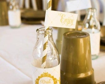 GLITTERY GOLD BALLERINA Printable Drink Wraps