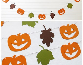Fall Garland - Pumpkin & Leaves - Fall Home Decor Pumpkin Garland Leaf Garland Fall Banner Jack Olantern Garland Fall Decor Pumpkin Decor