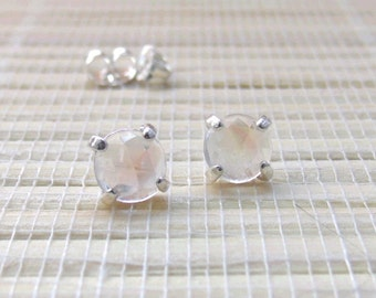 Rainbow Moonstone Cabochon Rosecut Stud Sterling Silver Earrings June Birthstone 6mm