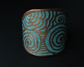 Etched Copper Cuff - Patina Land and Sea Design - Unisex - Bridal jewelry - handmade copper jewelry- made in Austin, Tx