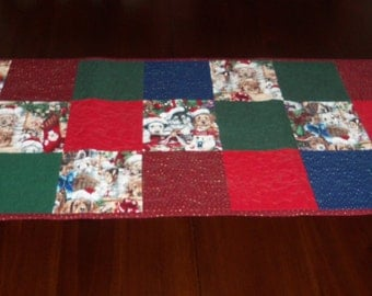 Quilted Table Runner, Handmade, Christmas Puppies, Sale Priced, Table Topper, Machine Quilted, 16 x 37 Inches, Dining Table,  Holiday Decor