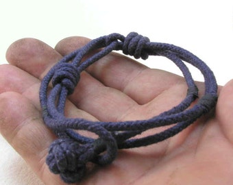 navy slip knot rope bracelet knotted cotton cord bracelet nautical jewelry rope jewelry 3168