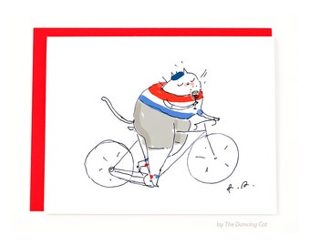 Tour de France Cat Card - Bike Card - Cycling Cat - French