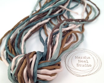 Hand Dyed Silk Ribbon - Silk Cord - DIY - Jewelry Supplies - Wrap Bracelet - Craft Supplies - 2mm Silk Cord Strands Simple Nature Palette