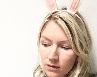 White Rabbit Headband, Easter Headband, Rabbit Ears