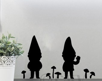 Garden Gnome Decal set with mushrooms vinyl lettering wall sticker