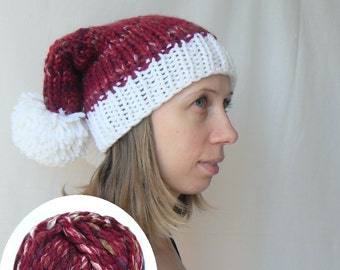 Double tailed knitted Santa hat like Penny's hat (melange thick yarn) FREE worldwide shipping