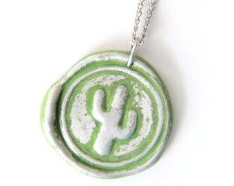 cactus wax seal stamped necklace by Ritzy Misfit
