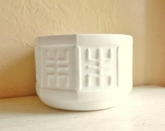 Large Milk Glass Bowl Planter Wedding Decoration Hieroglyphic Asian Design