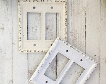 Double Light Switch, Metal Wall Decor,  Double Light Switch Cover, Double Rocker Switch Plate, Heirloom White, STYLE 102