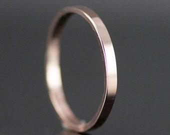 Rose Gold Wedding Band - 2mm x 1mm Gold Wedding Ring - 14k or 18k Yellow, White or Rose Gold