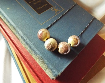 Plum & White Necklace Speckled Pottery Beads on Ball Chain